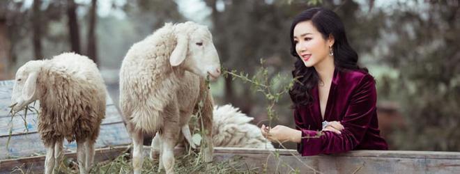 Hoa hậu Đền Hùng Giáng My bình yên vui đùa cùng đàn cừu