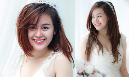 Bà Tưng đẹp thánh thiện như thiên thần khi diện váy cô dâu