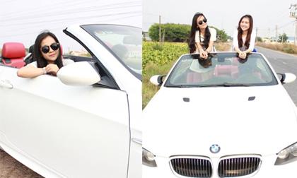 'Bản sao Angela Phương Trinh' về thăm quê bằng xe mui trần sành điệu