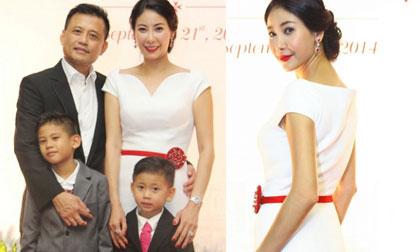 Hà Kiều Anh sang trọng đi dự tiệc cùng chồng con
