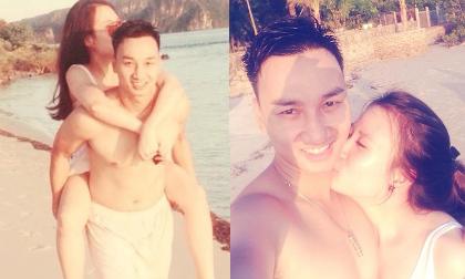 Clip Thành Trung hôn bạn gái đắm đuối trên biển