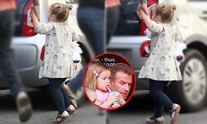 Harper nhảy tung tăng khi được bố Becks đón lúc tan trường