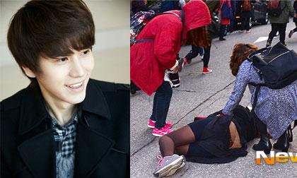 Fan Hàn ngã cắm mặt xuống đường vì hộc tốc đuổi theo thần tượng