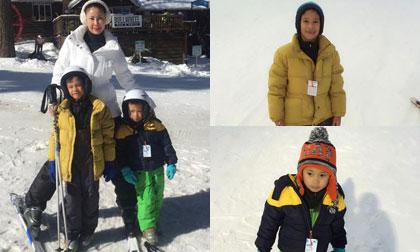 Hà Kiều Anh hạnh phúc đưa hai con trai đi trượt tuyết