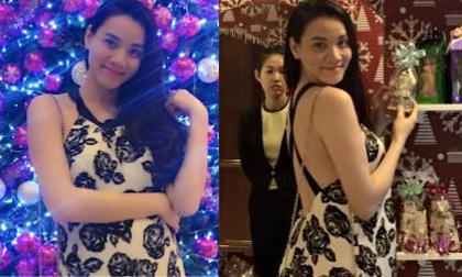 Bà bầu Trang Nhung khoe lưng trần yêu kiều mừng Giáng sinh