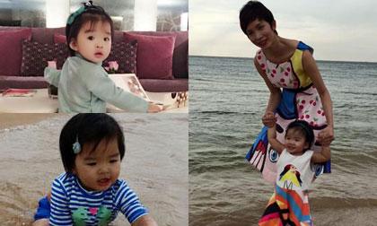 Con gái Xuân Lan thích thú khi  lần đầu được đi biển