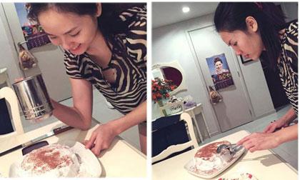Phương Linh trổ tài vào bếp làm bánh kem