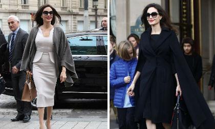 Diễn viên Angelina Jolie, angelina jolie diện áo 2 dây, miệt mài làm việc