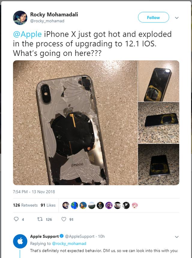 iphone x, iphone x phát nổ, iphone phát nổ
