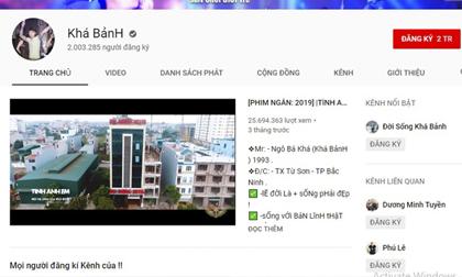 Yêu cầu YouTube hạ kênh của Khá Bảnh