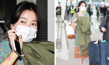 Song Hye Kyo bị soi xuất hiện vết lạ trên cánh tay khi lên đường sang Thái Lan