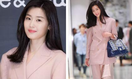 'Mợ chảnh' Jeon Ji Hyun như nữ chủ tịch khi diện đồ tông hồng ngọt ngào