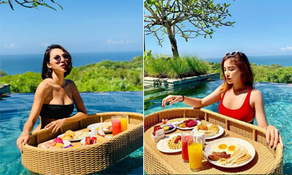 Kỳ Duyên và Minh Triệu diện bikini, đọ độ nóng bỏng ở Bali