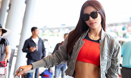 Siêu mẫu Minh Tú khoe vẻ đẹp khỏe khoắn giữa sân bay