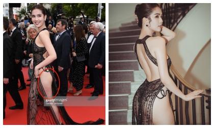 Hình ảnh 'Nữ hoàng nội y' Ngọc Trinh tại thảm đỏ Cannes chưa photoshop liệu có lung linh như mơ?