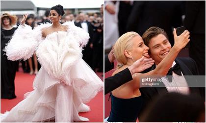 """Thảm đỏ LHP Cannes 2019 ngày 7: """"Hoa hậu đẹp nhất mọi thời đại"""" diện đầm đồ sộ; nữ ca sĩ Anh vô tư chụp hình selfie dù bị cấm"""