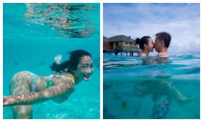 Ốc Thanh Vân khoe loạt ảnh diện bikini nóng bỏng, khoá môi ông xã tình tứ khi lặn biển