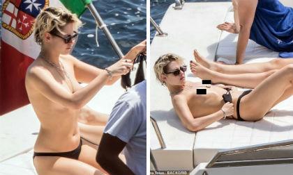 Sao 'Chạng vang' Kristen Stewart táo bạo phơi ngực trần trên du thuyền