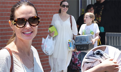 Angelina Jolie quý phái với đầm trắng, vui vẻ ra phố cùng con gái yêu