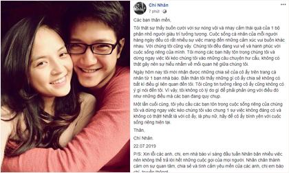 Chí Nhân lên tiếng sau nghi án 'đá xéo' vợ cũ Thu Quỳnh: 'Hãy để cô ấy bình yên với cuộc sống riêng hiện tại'