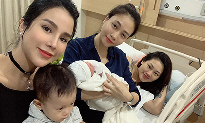 Diệp Lâm Anh khoe ảnh thăm bạn thân Pông Chuẩn sinh con, Đàm Thu Trang đã than khổ