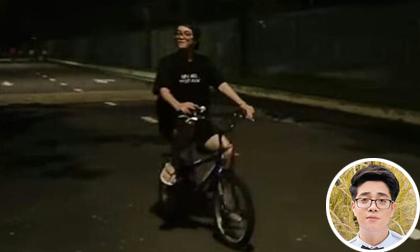 Fan bắt gặp Bùi Anh Tuấn mặc đồ giản dị, vừa đạp xe vừa bóp còi giữa đêm