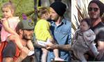 Muôn kiểu 'bố bồng con' của Beckham và Harper