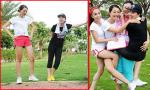 Lê Khánh, Trà My Next Top khoe chân dài khi tập thể dục