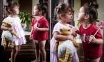 Con trai Hồng Nhung 'quên mặc quần', nô đùa với em gái