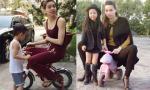 Hết ngồi xe của Subeo, Hà Hồ lại 'tranh' xe 3 bánh của em bé