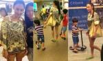 Trương Bá Chi lộ chân gầy tong teo đưa hai con đi mua sắm