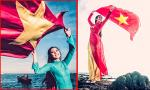 Ngọc Hân mặc áo dài tung bay cờ đỏ sao vàng trên đảo Lý Sơn