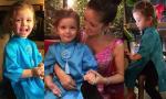Con gái Hồng Nhung dễ thương khi mặc áo dài cách tân