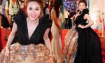 Ngân Khánh vất vả diện váy 'khổng lồ' dự sự kiện trước ngày cưới