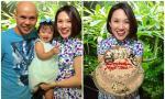 Phan Đinh Tùng và con gái hí hửng mừng sinh nhật bà xã