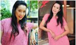 Trịnh Kim Chi 'bế' bụng bầu 7 tháng dự sự kiện