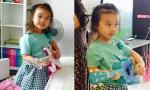 Con gái Thành Trung tạo dáng đánh đàn đáng yêu như nghệ sĩ nhí