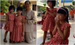 Hai con gái nhà Bình Minh đi lễ chùa 'cực yêu'