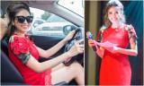 Hoa hậu Phan Hoàng Thu một mình lái xe đi làm MC