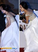 Sao nữ Hàn mặc váy rườm rà, suýt 'vồ ếch' trên thảm đỏ Rồng Xanh