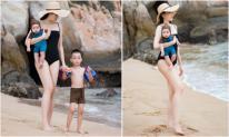 Mừng sinh nhật, cựu mẫu Ngọc Thạch khoe body 'mướt mắt' bên 2 con trai