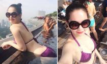 Ngọc Trinh khoe dáng ngọc ngà bên bể bơi