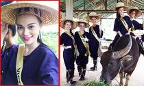 """Cao Thùy Linh đi chăn trâu, làm nông dân ở """"Hoa hậu Quốc tế 2014"""""""