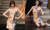 Siêu mẫu Coco Rocha ngã nhào trên sàn diễn Paris Fashion Week