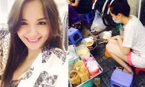 Diễm Hương che bụng bầu, bịt kín mặt ngồi rán bánh ở vỉa hè
