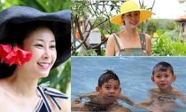 Hà Kiều Anh trẻ trung, quyến rũ đi du lịch cùng gia đình