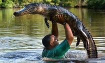 Chàng trai nhấc bổng cá sấu 200 kg dưới đầm lầy