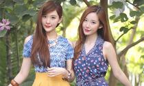 Cặp chị em có gương mặt hot girl giống hệt nhau