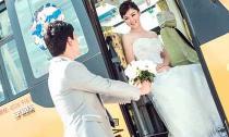 Chụp ảnh cưới với xe bus trường học