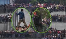 'Hú hồn' fans vây kín, trèo cao bất chấp nguy hiểm để nhìn thần tượng